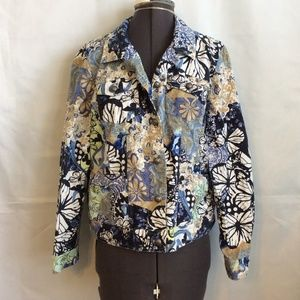 Spring Jacket Light M Blue Button Thin Butterfly